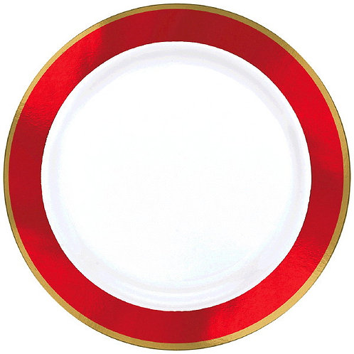 Red Border Premium 7in Plastic Plates 10ct