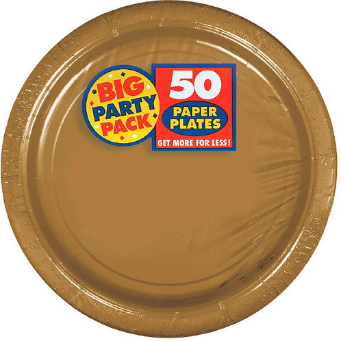Gold 7in Paper Plates 50ct