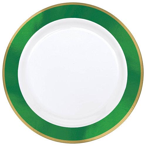 Green Border Premium 10in Plastic Plates 10ct