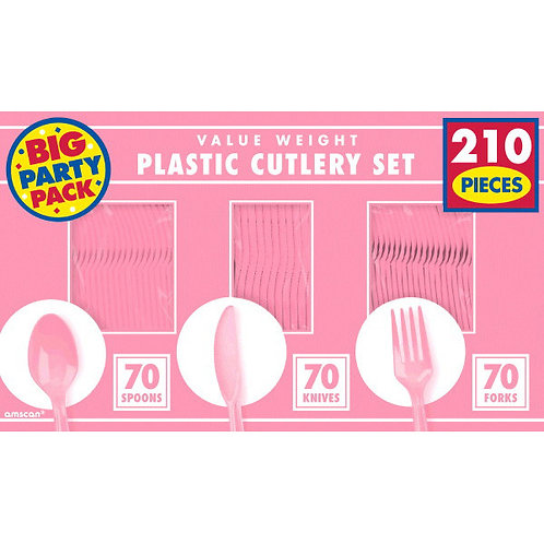 Pink Value Cutlery Set 210ct