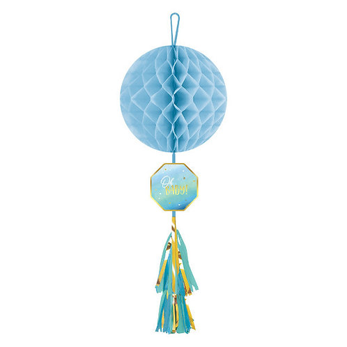 Oh Baby Boy Honeycomb Decoration w/ Tassel Tail