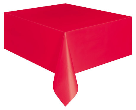 "Red Rectangular Plastic Table Cover 54""x108"""