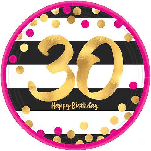 Pink and Gold Milestone 30 Round Metallic Dessert Plates 8ct