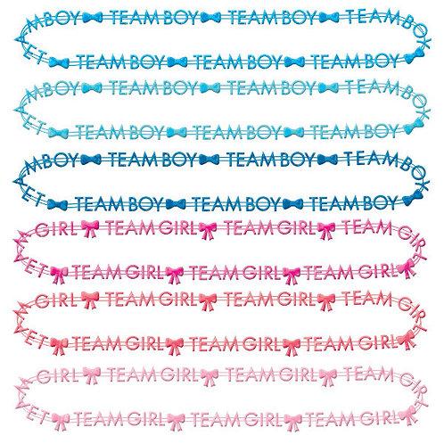 Gender Reveal Team Boy/Team Girl Bead Necklaces