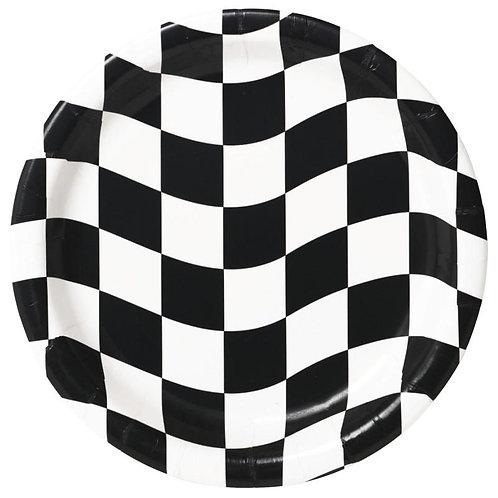 Black & White Check Dessert Plates 8ct