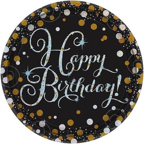 Sparkling Celebration Round Prismatic Lunch Plates 8ct, Happy Birthday