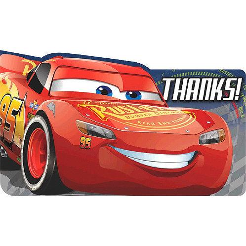 CARS 3 Postcard Thank You 8ct