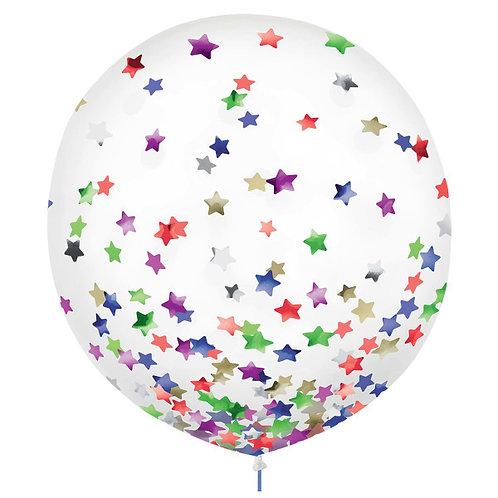 Stars Confetti 24in Latex Balloons 2ct