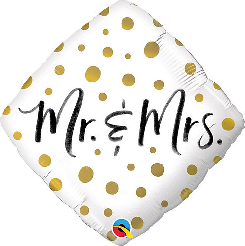 #574 Mr. and Mrs. Gold Dots 18in Mylar Balloon