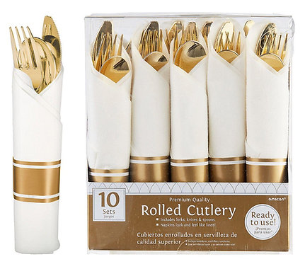 Gold Rolled Premium Plastic Cutlery Sets 10ct
