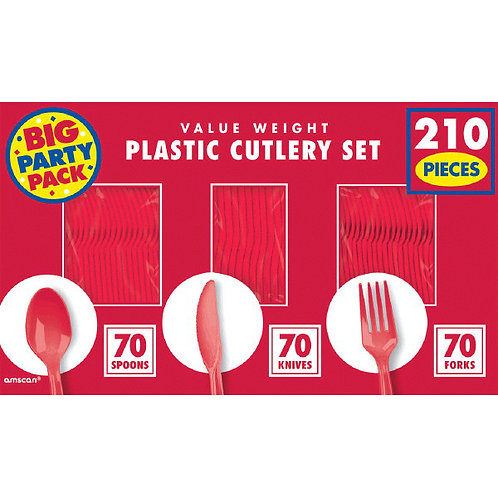 Red Value Cutlery Set 210ct