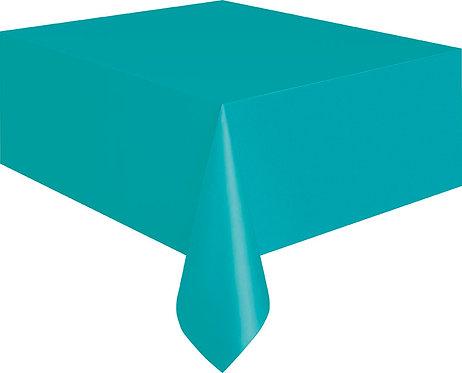 "Caribbean Teal Rectangular Plastic Table Cover 54""x108"""