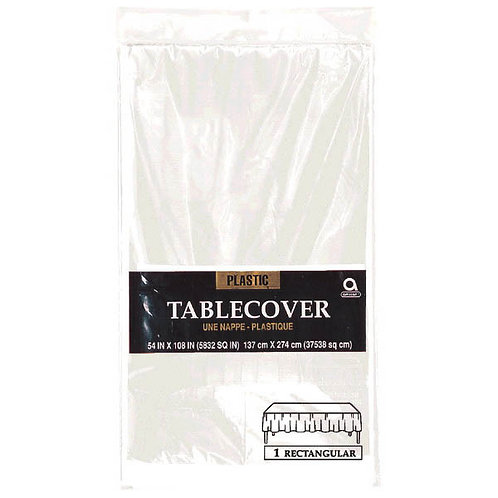 """Clear Rectangular Plastic Table Cover, 54"""" x 108"""""""