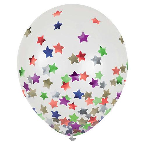 Stars Confetti 12in Latex Balloons 6ct