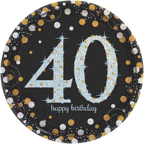 Sparkling Celebration 40 Round Prismatic Dessert Plates 8ct