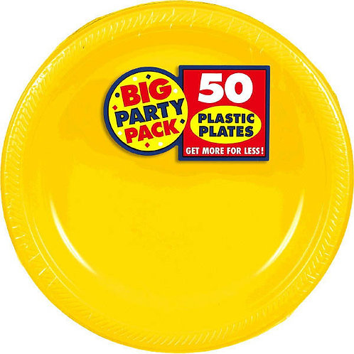Yellow 10in Plastic Plates 50ct