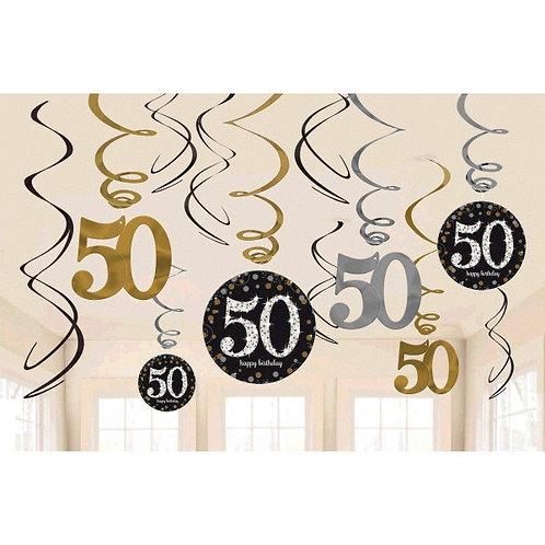 Sparkling Celebration 50 Value Pack Foil Swirl Decorations