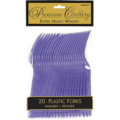 Purple Plastic Forks 20ct