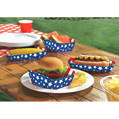 Red, White And Blue Paper Food Trays 16ct