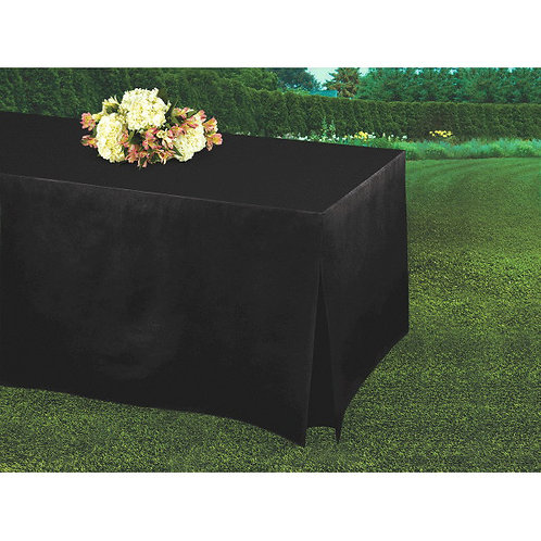Black Flannel-Backed Vinyl Fitted Table Cover