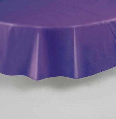 "Purple Round Plastic Table Cover 84"""