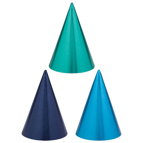 Birthday Accessories Blues Cone Hats 12ct