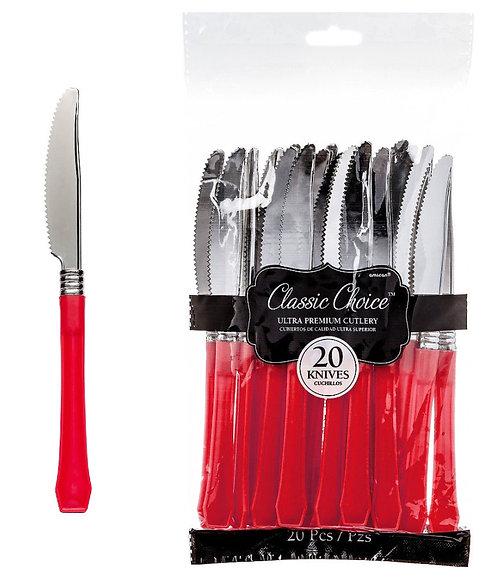 Red Premium Plastic Knives 20ct