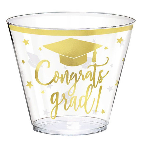 Congrats Grad 9oz Plastic Hot-Stamped Cups 30ct