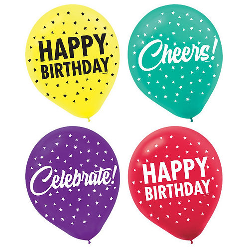 Here's To Your Birthday Latex Balloons 15ct