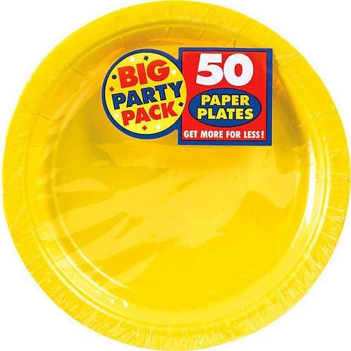 Yellow 9in Paper Plates 50ct