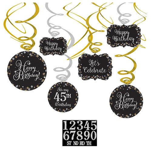 Sparkling Celebration Add-Any-Age Swirl Decorations