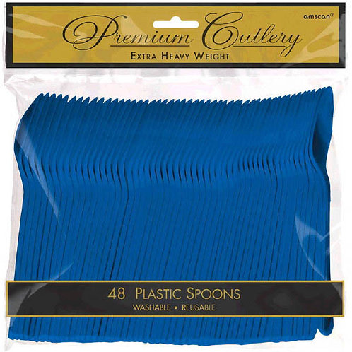 Royal Blue Plastic Spoons 48ct
