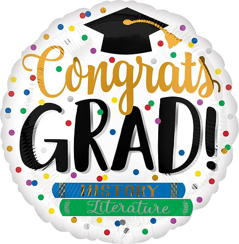 #G34 Congrats Grad Books 18in Mylar Balloon