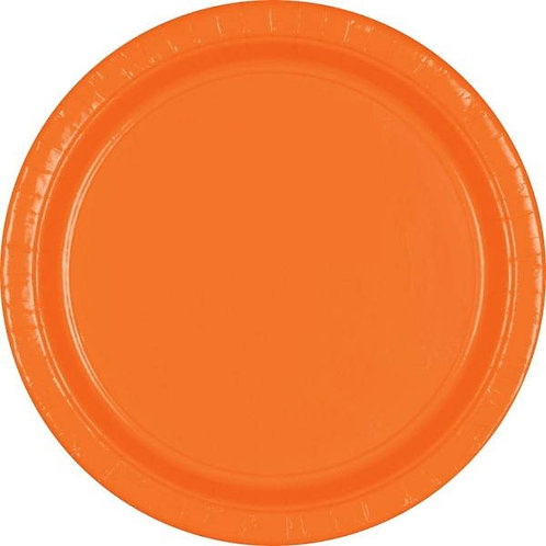 Orange 7in Paper Plates 20ct