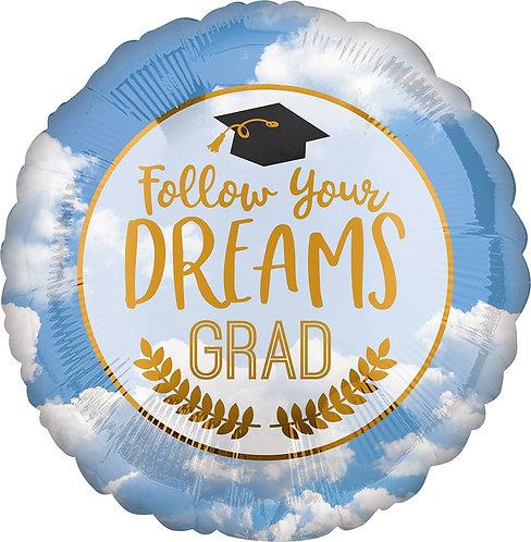 #G18 Follow Your Dreams 18in Mylar Balloon