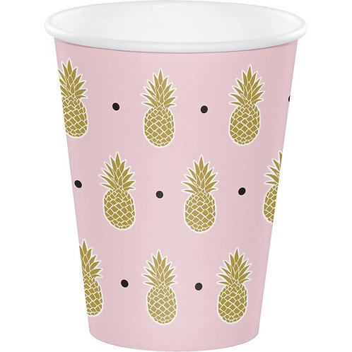 Gold Pineapple Paper Cups 8ct