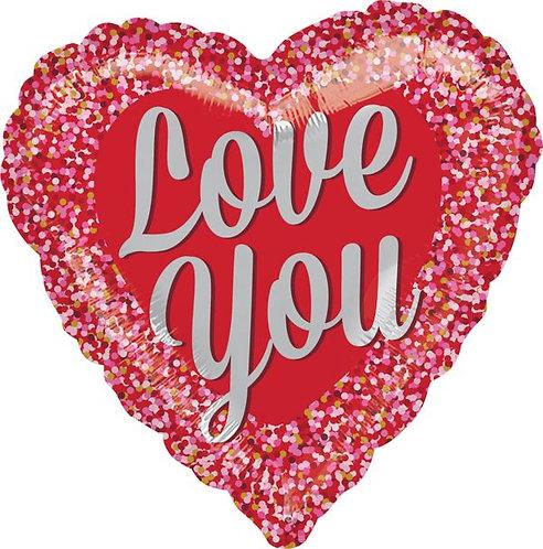 #517 Love You Confetti 18in Mylar Balloon