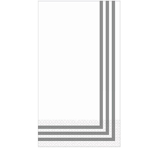 Classic Stripe Silver Premium Guest Towels 16ct