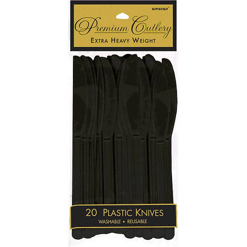 Black Plastic Knives 20ct