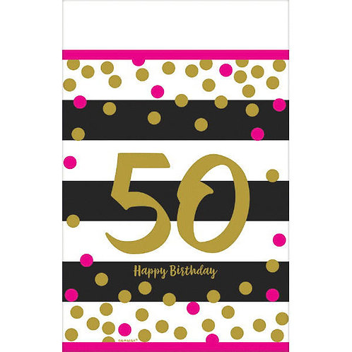 Pink and Gold Milestone 50 Plastic Table Cover
