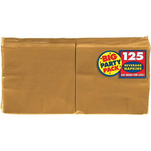 Gold Beverage Napkins 125ct