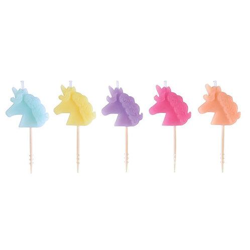 Unicorn Icon Molded Pick Candles 5ct