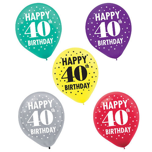 Here's To 40 Latex Balloons 15ct