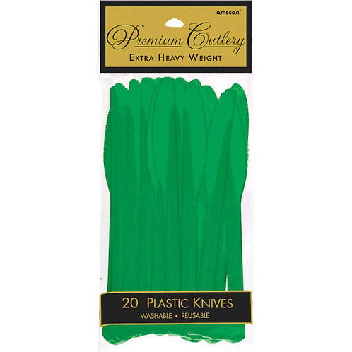 Green Plastic Knives 20ct