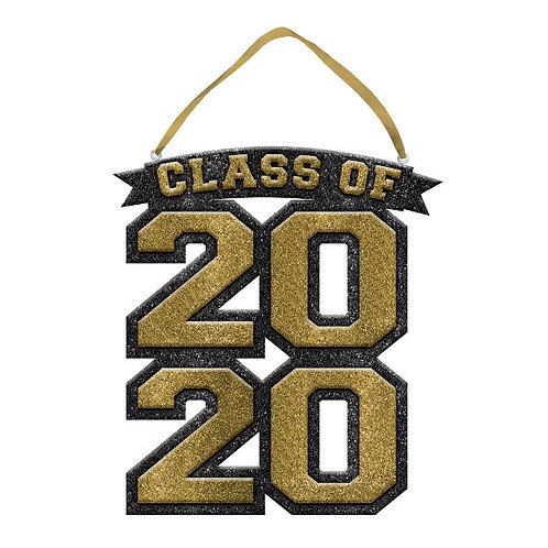 "2020 Glitter Sign 10"" x 9 1/4"" - Gold"