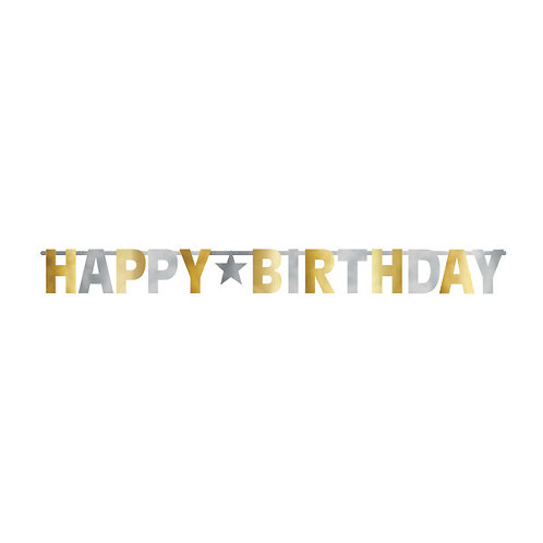 Birthday Accessories Silver & Gold Giant Letter Banner