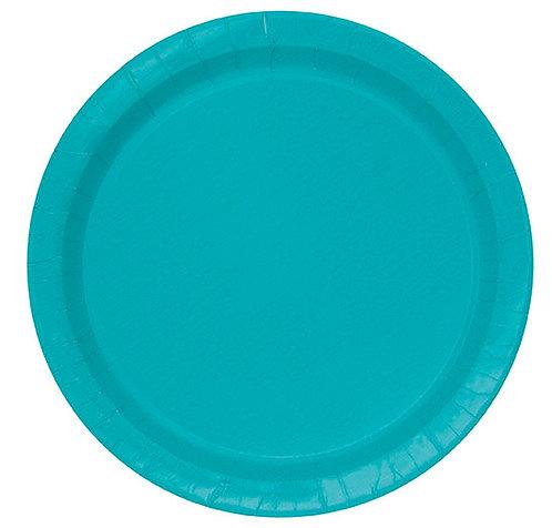 "Caribbean Teal Round 7"" Dessert Plates 20ct"