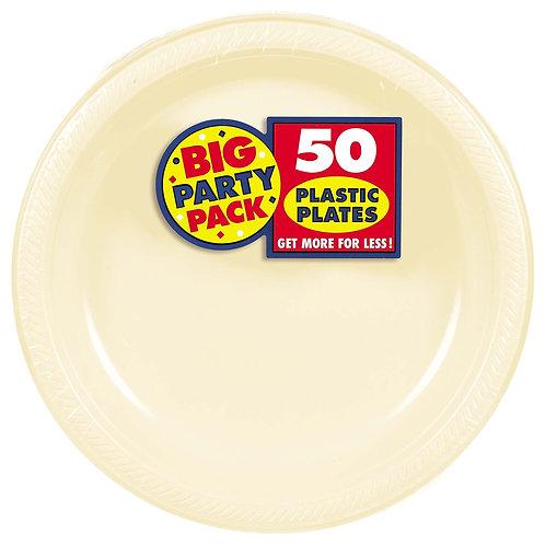 Vanilla Creme 10in Plastic Plates 50ct