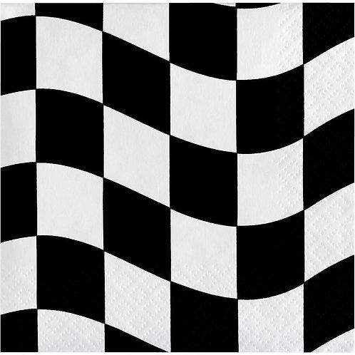 Black & White Check Beverage Napkins 16ct