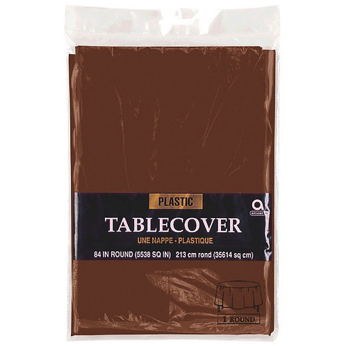 """Brown Round Plastic Table Cover, 84"""""""